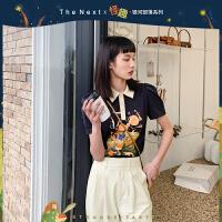 thenext联名IP韩版T恤女2021年新款夏季潮流ins设计感泡泡袖上衣