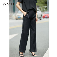 Amii[极简主义]2018夏装新品宽松微弹压褶阔腿休闲长裤