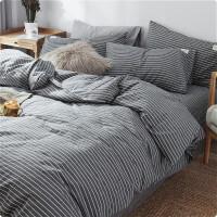 四件套全棉纯棉色织水洗棉裸睡北欧风床单被套床笠床上用品 2.0m床单款四件套 被套220*240 床单24