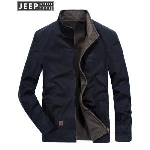 吉普JEEP双面夹克男秋冬新款男装水洗纯棉立领休闲大码工装茄克两面穿外套男上衣