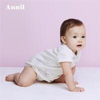 安奈儿童装2018春夏新款男婴童纯棉舒适百搭短袖连体衣YB827545