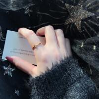 戒指女潮人学生个性玫瑰金食指戒指
