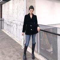 韩风气质V领收腰修身西装外套女春秋中长款丝绒黑色西服