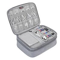 BUBM 数据线收纳包装笔记本充电器鼠标移动电源硬盘保护套大容量便携 DP-MYB 灰色升级 灰色