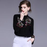 春装新款欧美女装重工刺绣款式长袖衬衫2018新品 黑色