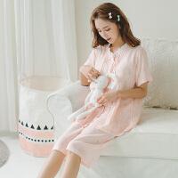 纯棉睡衣女夏套装短袖两件套甜美可爱卡通松鼠印花韩版宽松家居服