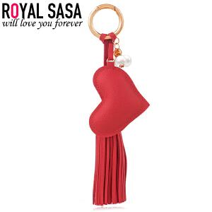 皇家莎莎钥匙扣PU皮心形五角星挂件韩国版时尚简约流苏挂坠配饰品