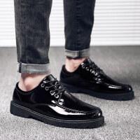 社会休闲鞋小皮鞋男韩版潮流内增高鞋子夏季学生英伦透气亮皮男士鞋