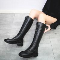 秋冬新款骑士长靴系带平底高筒靴厚底长筒马丁靴及膝靴中筒女靴子 黑色