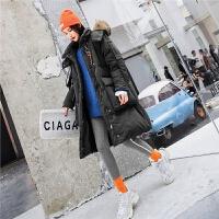 七格格大毛领鹅绒羽绒服女中长款冬2018新款韩版时尚过膝加厚外套