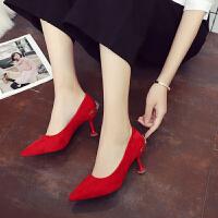 婚鞋女红色高跟鞋细跟红鞋新娘鞋中式尖头猫跟鞋伴娘中跟结婚鞋子