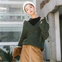 七格格慵懒风套头毛衣女2018新款假两件韩版中长款半高领针织衫冬