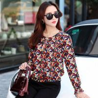 韩版个性印花拼接修身衬衫女雪纺衫女士小衫 新款大码长袖打底衫短款修身上衣女装