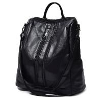 皮女包 时尚头层皮羊皮双肩包搭妈咪包背包书包旅行包 黑色拼接