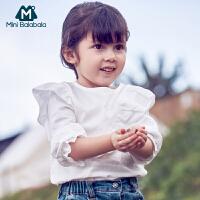 【尾品汇清仓】迷你巴拉巴拉女童长袖衬衫2018秋季新款童装纯棉圆领衬衣上衣潮