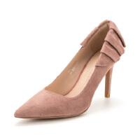 【一口价抢购】D:Fuse/迪芙斯春商场同款新款羊反绒尖头高跟单鞋DF81111002