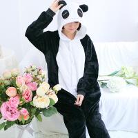 法兰绒熊猫连体睡衣动物女家居秋冬季珊瑚卡通长袖批发情侣如厕服 A熊猫