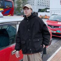 冬季羊羔毛外套男士加绒加厚韩版潮牌工装棉袄冬装帅气棉衣男