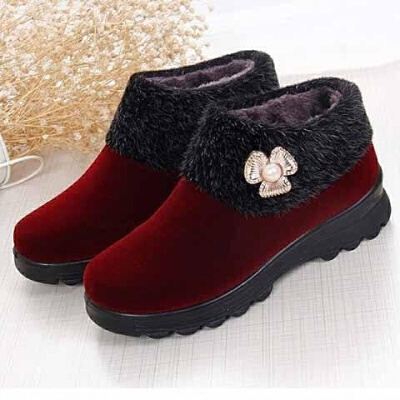 妈妈鞋冬季加绒加厚保暖女鞋防滑中老年奶奶棉鞋老北京布鞋