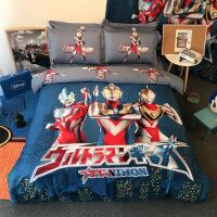 【人气】纯棉卡通儿童三四件套全棉男孩床上用品学生磨毛床单被罩海贼王