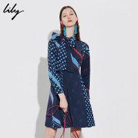 【6/4-6/8 一口价:239元】 Lily春女装时髦复古撞色波点印花收腰连衣裙118420C7534