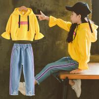 秋装套装童装卫衣时髦套装潮衣洋气牛仔裤两件套