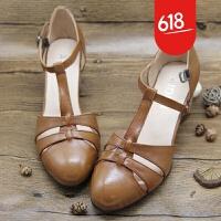 夏季新款2018罗马凉鞋真皮粗跟高跟鞋复古丁字鞋圆头包头镂空女鞋GH148