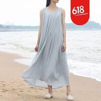 原创夏季新款无袖棉麻连衣裙丝麻打底裙背心沙滩长裙中长款白色仙女裙GH017 均码