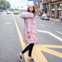 大毛领羽绒服女2018新款中长款过膝冬季宽松加厚小个子时尚外套潮 X