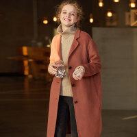 【2件2.5折】唐狮冬装新款外套女宽松长款双面羊绒毛呢外套流行大衣韩版潮