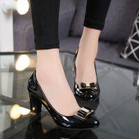 韩版春秋低帮鞋时尚粗跟高跟单鞋蝴蝶结百搭休闲中跟职业女鞋皮鞋