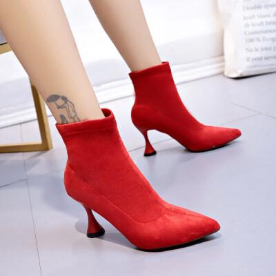 短靴女春秋单靴袜靴女靴子女冬粗跟中筒尖头弹力女士瘦瘦靴高跟鞋
