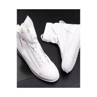 品牌欧美男士短筒靴时尚青年牛仔靴内增高马丁靴白色高帮皮鞋男皮靴子