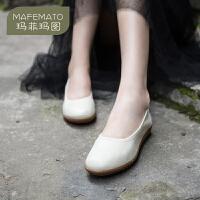 玛菲玛图厚底软底妈妈鞋女2020新款春秋季黑色职业OL工作鞋黑色中跟软皮鞋1165-1