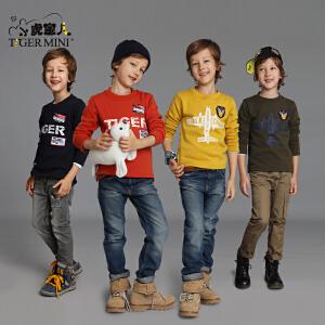 小虎宝儿童装男童长袖T恤加绒加厚儿童打底衫中大童体恤上衣圆领