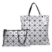 手提包女款手拎包 女士折叠手提包 欧美几何镭射手提包三角拼接链条包子母包菱格折叠包三宅一生同款女包潮