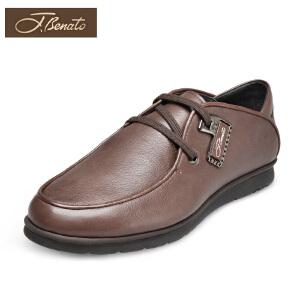 宾度英伦男鞋单鞋男休闲鞋透气夏季皮鞋男单层皮牛皮鞋子圆头平跟
