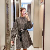 毛呢连衣裙秋冬季2018新款加绒加厚法国小众气质桔梗裙子复古法式 黑色