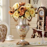 欧式落地客厅奢华大花瓶复古家居装饰品摆件欧式客厅树脂高脚双耳花插花器落地大花瓶