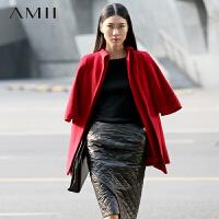 【限时秒杀】Amii极简反季赫本风女2018秋冬宽松羊绒立领斗篷羊毛毛呢大衣外套