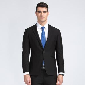 才子男装(TRIES)西服套装 男士2017新款纯色一粒单排扣简约舒适商务西服套装