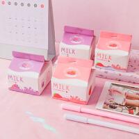 尼家文具学生用品粉色少女心草莓牛奶盒造型便携便签便利贴记事本