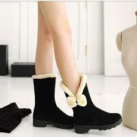 雪地靴女鞋女靴耐磨防滑中筒棉靴女短靴加绒加厚短筒靴保暖女棉鞋