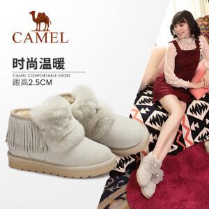 camel骆驼女鞋 2017冬季新款 可爱丑萌鞋兔毛雪地靴流苏防滑保暖短靴子