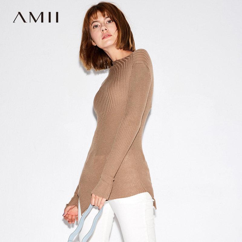 【当当19周年庆,满200减100上不封顶】Amii个性 不规则下摆毛衣女 秋装修身套头针织衫.