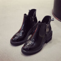马丁靴女2019新款韩版百搭漆皮侧拉链网红秋季短靴短筒低跟女靴子