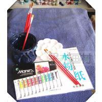 新品儿童小学生入门级马利水彩/水粉颜料12色+笔筒+画笔+水粉纸 5件套装