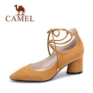 Camel/骆驼女鞋  秋季新款 优雅绑带单鞋女 舒适高跟粗跟单鞋