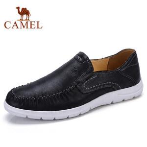 camel 骆驼2018新款男鞋时尚休闲软底皮鞋男牛皮缝线套脚休闲潮鞋
