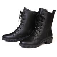 短靴2019冬新款平跟平底女靴子舒适休闲女鞋中跟马丁靴